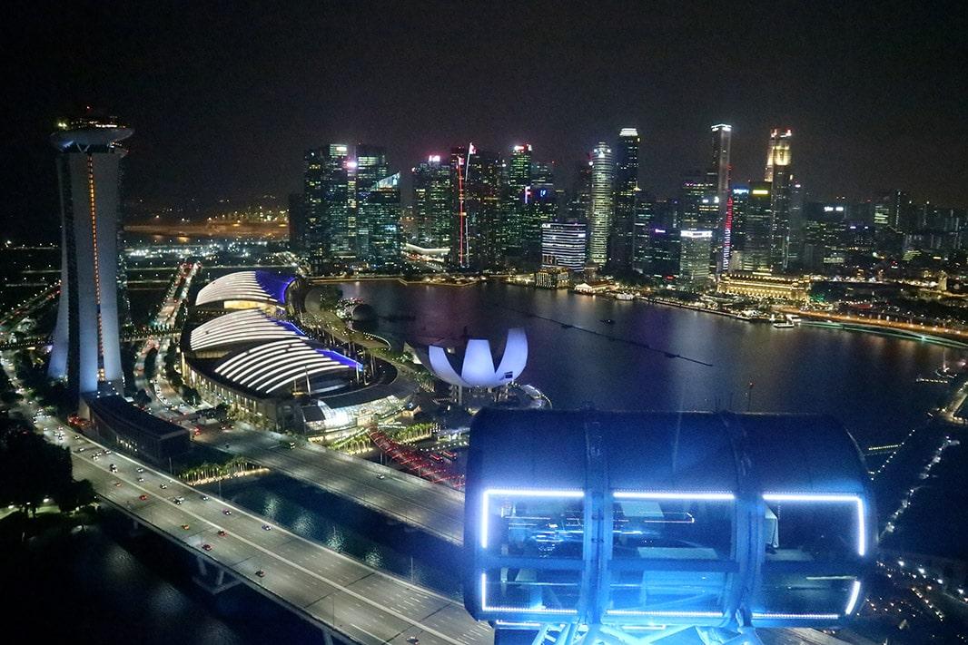 a bordo di una cabina del singapore flyer e panorama di singapore di notte